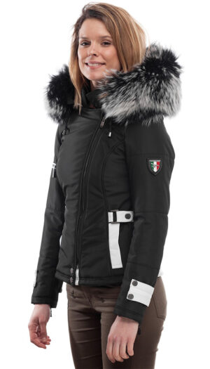 PUFFER JACKET IN FABRIC AND WHITE LEATHER WITH FUR