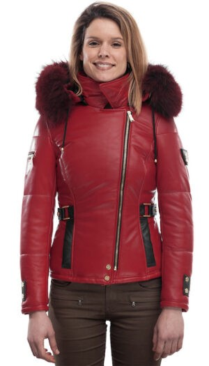 PUFFER JACKET IN RED LEATHER WITH FUR