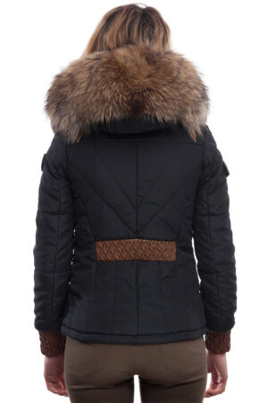 PUFFER JACKET IN FABRIC BLUE AND COFFEE BROWN LEATHER WITH FUR