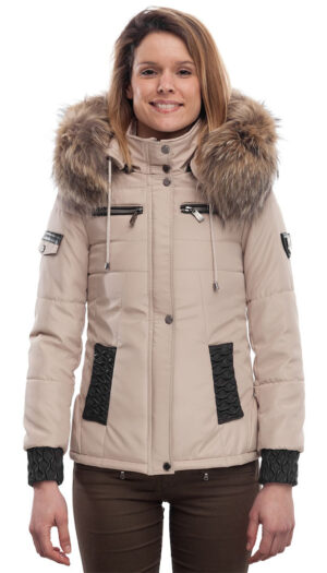 PUFFER JACKET IN FABRIC BEIGE AND LEATHER WITH FUR