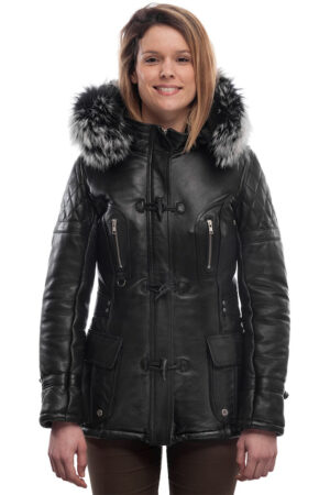 PUFFER JACKET IN BLACK LEATHER WITH FUR