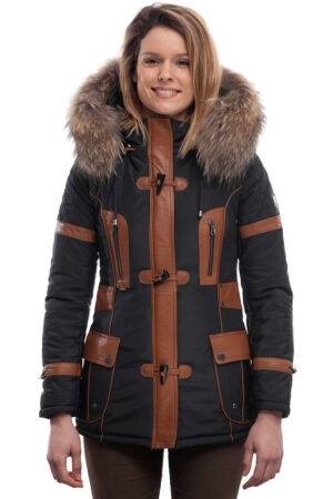 PUFFER JACKET IN BLUE FABRIC WITH COFFEE BROWN LEATHER AND FUR