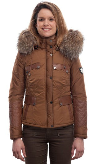 PUFFER JACKET IN GOLDEN FABRIC WITH LEATHER AND FUR