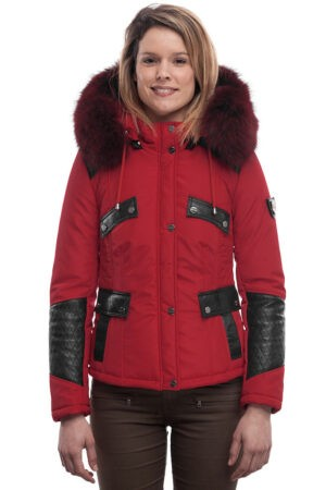 PUFFER JACKET IN RED FABRIC WITH BLACK LEATHER AND FUR