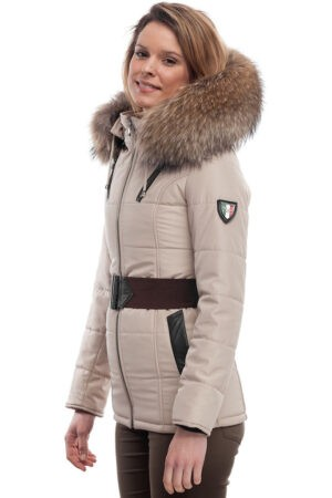 PUFFER JACKET IN BEIGE FABRIC WITH BROWN LEATHER AND FUR