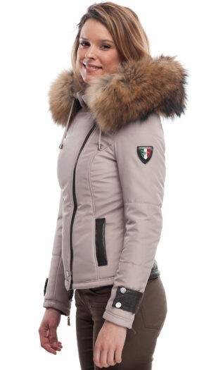 PUFFER FABRIC JACKET IN BEIGE WITH FUR