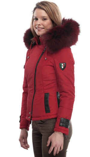 PUFFER JACKET IN FABFIC AND LEATHER WITH FUR