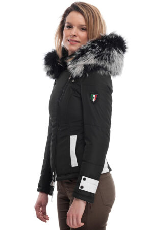 PUFFER JACKET IN BLACK FABFIC AND WHITE LEATHER WITH FUR