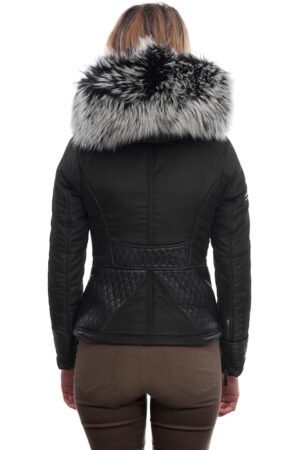 PUFFER JACKET IN BLACK FABFIC AND BLACK LEATHER WITH FUR