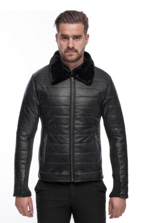 MEN'S STYLISH LEATHER JACKET QUILT WITH FUR