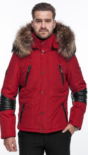 PUFFER JACKET IN RED FABRIC AND BLACK LEATHER WITH FUR