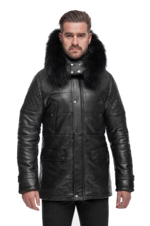 PUFFER BLACK LEATHER JACKET WITH FUR