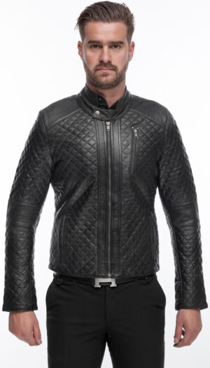MEN'S LEATHER JACKET QUILTED
