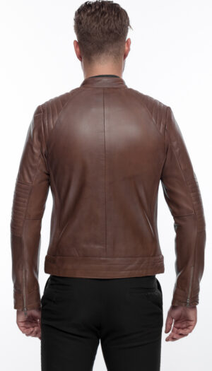 MEN'S STYLISH LEATHER JACKET IN COFFEE BROWN