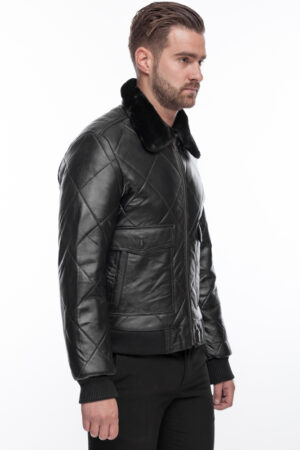 MEN'S STYLISH LEATHER JACKET QUILT WITH FUR COLLAR