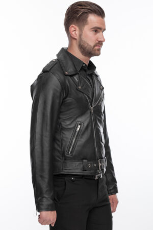 Mens Perfecto Stylish Super Soft  Leather Fitted Jacket