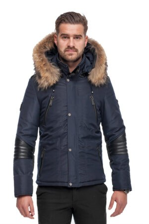 PUFFER JACKET BLUE FABRIC AND BLACK LEATHER WITH FUR