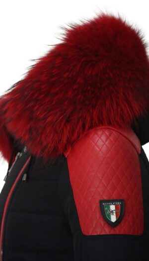 PUFFER JACKET BLACK FABRIC AND RED LEATHER WITH FUR