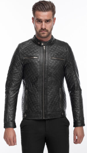 MEN'S LEATHER JACKET QUILT IN BLACK