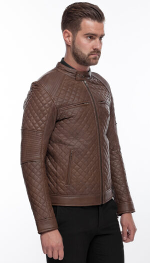 MEN'S LEATHER JACKET QUILT IN COFFEE BROWN