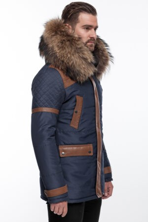 PUFFER JACKET IN BLUE FABRIC AND COFFEE BROWN LEATHER WITH FUR