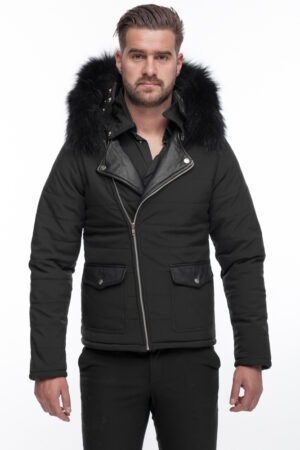 PUFFER Perfecto Black JACKET WITH FUR