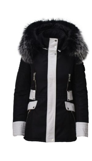 PUFFER BLACK JACKET IN WHITE LEATHER WITH FUR
