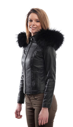 Women's Leather Jacket Stylish Super Soft with fur