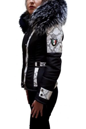 PUFFER JACKET IN FABRIC WITH  LEATHER AND FUR